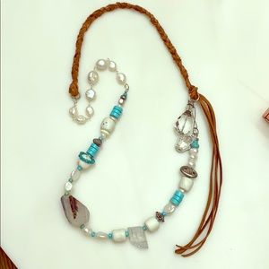 Jewelry - Pearl Turquoise Quartz Leather Sterling Necklace
